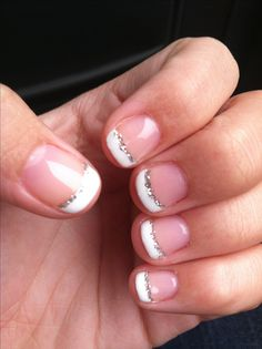Shellac french tip with glitter manicure. If I could only stop biting my nails.. :(