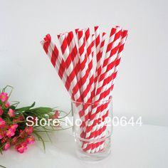 Vente en gros beau rouge et blanc rayé pailles en papier, potable pailles en papier, pailles papier rayé 200pcs/lot, livraison...