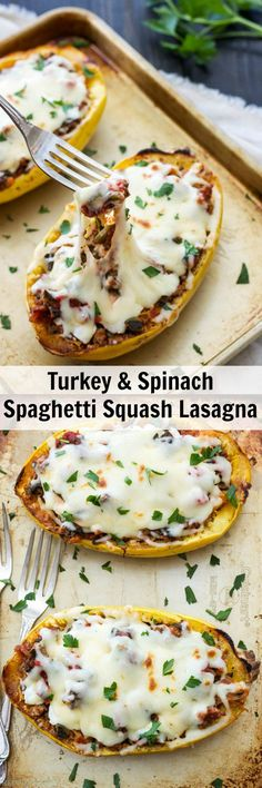 Turkey and Spinach Spaghetti Squash Lasagna | Skip the noodles and make this lighter, lower carb and healthier version of lasagna!