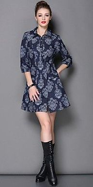 Women's New Winter Fashion Temperament Of High-End Sleeve Dress In Jeans