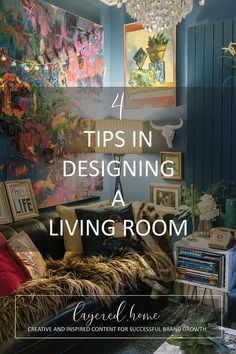 4-tips-design-living-room Eclectic Living Room, Interior Design Living Room, Living Room Designs, Dark Blue Living Room, My Living Room, Green Lounge, Chimney Breast, Dark Blue Green