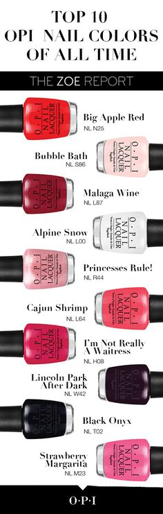@TheZoeReport shares their top 10 OPI lacquer shades of all time