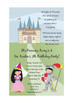 Knight and Princess Party INVITATIONS by PracticallyDarling, $29.25