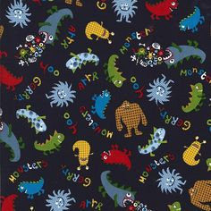 Cotton fabric by the yard Friendly Monsters on navy by Laminates