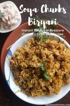 Soya Biryani | Soya Chunks Biryani - My Dainty Kitchen Lunch Box Recipes, Vegetarian Recipes Dinner, Rice Recipes, Veggie Recipes, Indian Food Recipes, Appetizer Recipes, Vegetarian Lunch, Vegan Dinners, Dinner Recipes