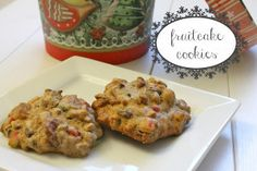 Fruitcake cookies are a delicious, bite-sized take on a traditional holiday dessert. They're like a chewy, fruity spice cookie! Spritz Cookies, Cake Mix Cookies, Yummy Cookies, Cupcakes, Christmas Desserts, Christmas Baking, Christmas Cookies, Xmas Food, Holiday Baking