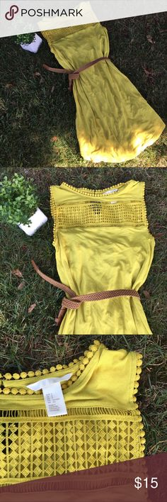 Gorgeous H&M Mustard Dress🍂🌻🍂💕 🍂Gorgeous H&M Mustard Dress, is sleeveless, and has lovely Lace details at the neck. It's light and comfortable, may need a slip or lining underneath. Cute paired with brown or black belt and winter boots and a chunky sweater! Definitely, Fall ready! Great condition. Comes from a smoke-free home:)🍂🌻🍂💕 H&M Dresses Midi