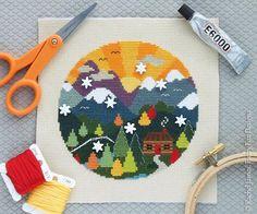 Woodland Cottage Easy Beginners Cross Stitch Pattern PDF