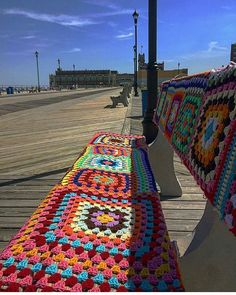 Spotted in Asbury Park!  #Regram from @rentasburypark who came across this yarn-bombed bench on the north side of the Asbury Park.  #JSHN #JerseyShore #AsburyPark #MonmouthCounty  #yarnbombing #summer #JerseyShoreLocal 8/10/16