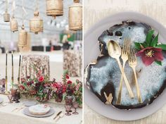 Love the mix of agate with metallic flatware for a modern metallic wedding