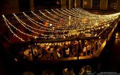 #Fairy Light canopy for an outdoor summer evening event