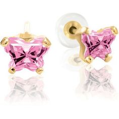 Bfly® Birthstone Collection of Jewelry for Children. Butterfly CZ Earrings in 14k Yellow Gold.