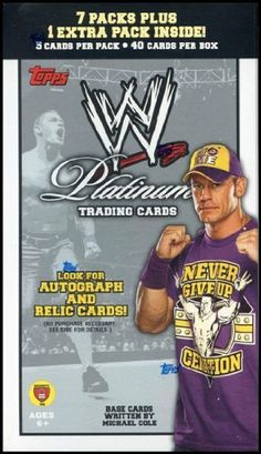 2010 Topps WWE Platinum Wrestling Blaster 8-Pack Box by Platinum. $11.95. Look for Autographs and Relic Cards!! CONTENT HIGHLIGHTS: AUTOGRAPH CARDS Platinum Autograph Cards - 15 WWE superstars with their signatures and numbered. - Gold: Numbered to 25 - Blue: Numbered to 99 Platinum Relic Cards - 20 WWE Superstars on cards with an event-worn piece. All parallel versions feature a relic piece: - Red (1:45000 packs) - Gold: Numbered to 50 (1:12000 packs) - Blue: Numbered...
