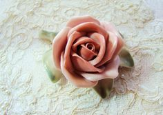 Shabby Chic Vintage Pink Rose Porcelain Karl Ens by Alyssabeths