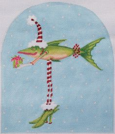 Patience Brewster Christmas Fish in Heels, from Kate Dickerson Needlepoint Collections