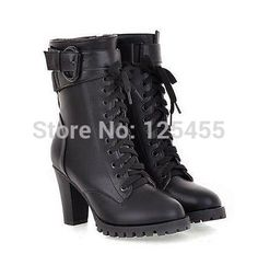 Women's Shoes Platform Stiletto High Heels Lace Up Buckle Ankle Boots Sexy Pumps