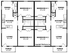 Studio Floor Plans, Duplex Floor Plans, Bungalow Floor Plans, Barndominium Floor Plans, Apartment Floor Plans, Duplex Design, Apartment Design, Vintage House Plans, Metal Building Homes