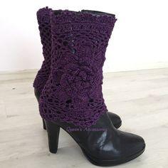 Manchettes de démarrage éclat or violet avec fleur, jambières, accessoires de mode automne en crochet