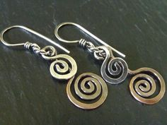 Sterling and copper open spiral earrings