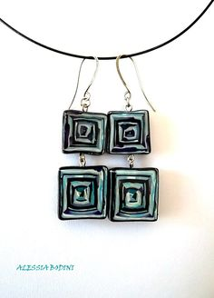 Earrings - square Stroppel cane