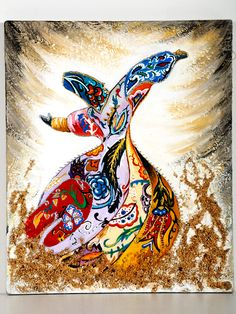 """Semazen"" by HEESANG LEE: ""This is a mixed-media heavily embedded with Turkish art. Semazen is also known as Sufi Whirling, a dance that is an integral part of the Islamic faith involving spinning in circles. Here is a depiction of the exemplary pose, which I filled in with beautiful and intricate Turkish patterns."" A Korean TCK who grew up in Turkey, her art reflects a love for both places. [Pinned by Heidi Tunberg]"