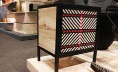 Expoartesanías: Mueble en estructura de hierro, láminas de madera y ensamble de tejidos en paja tetera con patrones tradicionales de comunidades de Cauca. Reinhard Dienes Studio. Guapi Cauca y Bogotá.