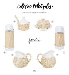 Linda coleção Petrópolis da marca Theodora Home de peças para mesa na cor fendi! Adoramos e já usamos em uma de nossas mesas de café da manhã!