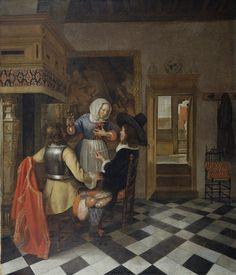 Hendrick van der Burch    DRINKERS BEFORE THE FIREPLACE  c. 1660