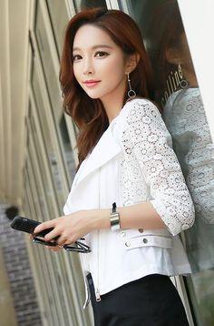 StyleOnme_Cotton Lace Rider Jacket #white #lace #elegant #chic #stylish…