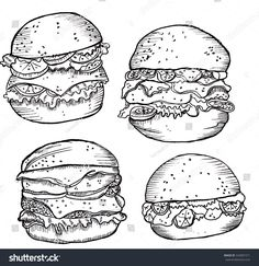 Burger Drawing, American Food, Hamburger Drawing, All American Food
