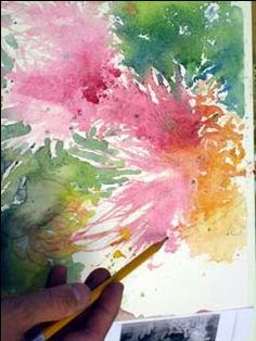 negative painting, watercolor and pencil, painting flower petals, watercolor flower lesson, blending watercolor, free watercolor demo