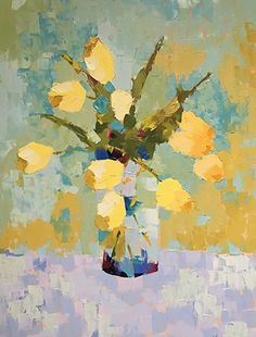 """White Tulips by Carol Maguire Oil ~ 40"""" x 30"""""""