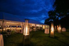 Tent rentals, elegant heaters, lighting and draping provided through Grand Event Rentals - www.grandeventrentalswa.com