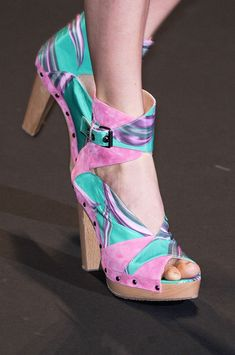Custo Barcelona's whimsically feminine summer sandals! The mixed pastel prints and blond wood heel