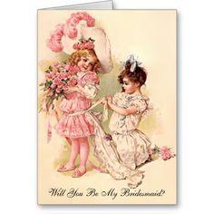 Bridesmaid Request Card Vintage Style Invitation