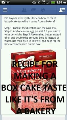 How to make a box cake mix taste like it came from a bakery.