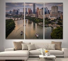 Lady Bird Lake Canvas Decor Austin Texas Featuring Riverboats Downtown During Sunset Skyline Wall Art Print Texas photography Austin Art by ArtWog Office Wall Decor, Office Walls, Wall Art Prints, Canvas Prints, Canvas Art, New York Canvas, Texas Photography, Banff National Park, Rest Of The World