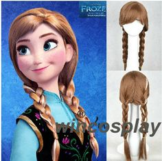 Disney Frozen Anna cosplay wig...how to braid hair for Anna costume. Add white hairpiece in on right side.