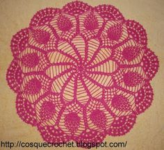 Pink doily with diagram