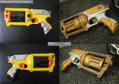 Transformation of a Nerf Maverick into a Steampunk weapon.  This was a dry-brush technique using Citadel paint from Games Workshop