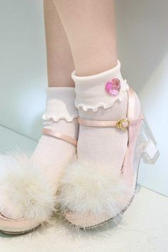 coquettefashion:  Fluffy Fairy Dust Glitter Sandal & Pink Heart Gem Frilly socks   Use the code coquette at checkout for 5% off All Items   Free shipping Worldwide.