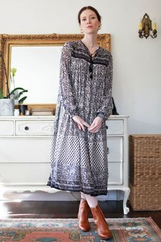 d4b3c6bdac4 Black  amp  White Indian Gauze Dress Gauze Dress