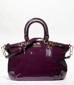 Coach Madison Patent Leather Sophia Convertiable Satchel Bag Purse Tote 18613 Plum