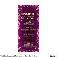 Wedding Program | Purple and Gold Confetti
