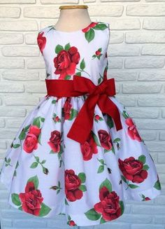 White and red flower dress Beautiful party dress for your princess! African Dresses For Kids, African Fashion Dresses, Little Dresses, Little Girl Dresses, Girls Dresses, Baby Girl Frocks, Frocks For Girls, Beautiful Party Dresses, Kids Frocks Design