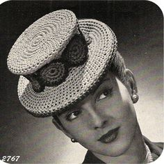 You know you've always wanted to crochet a tophat !   This one, vintage 1945, is from Spool Cotton Company.  It features just a hint of trim with an attractive round motif around the middle.   This pa
