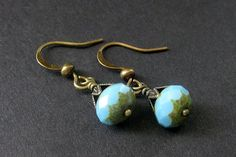 Turquoise Earrings  Glass and Bronze Earrings. by Gilliauna, $18.00