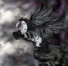 SciFi and Fantasy Art Andalusian Pegasus - Windflowa by Lisa Latasha Herron Mythical Creatures Art, Mythological Creatures, Magical Creatures, Fantasy Creatures, Dark Fantasy, Fantasy Art, Winged Horse, Unicorn Art, Horse Art