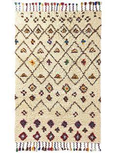 helline home - Tapis hirsute 100% laine, à franges multicolores