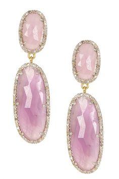 Pink Sapphire & White Diamond Oval Double Drop Earrings by Rivka Friedman on @HauteLook